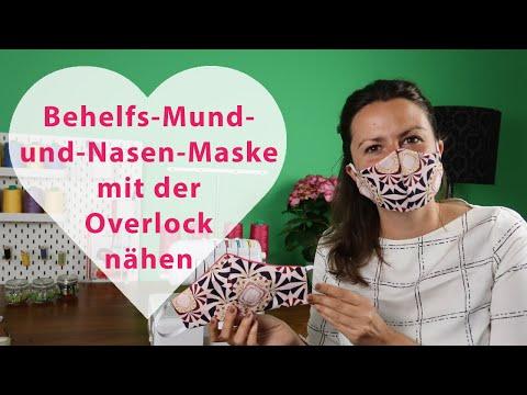 Behelfs-Mund-und-Nasen-Maske selber nähen mit der Overlock😍 Mit DIY-Schnittmuster, Draht, Gummiband